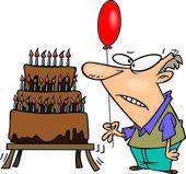 Cartoon Old Man Birthday Cake — Stock Vector