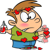 Ragazzo di fumetto valentines day — Vettoriale Stock