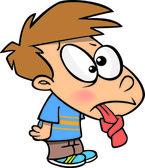 Cartoon Tongue Tied Boy — Stock Vector
