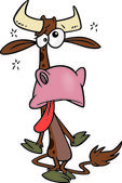 Cartoon Sick Cow — Stock Vector