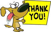 Signe merci chien de dessin animé — Vecteur