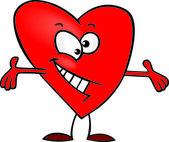 Abrazo de corazón de dibujos animados — Vector de stock