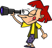 Cartoon Woman Spying — Stock Vector