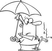 Tecknade man med ett paraply — Stockvektor
