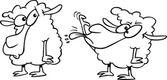 Cartoon zwarte schapen, witte schapen — Stockvector