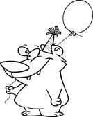 Cartoon Birthday Balloon Bear — Stock Vector