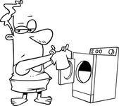 Cartone animato uomo lavanderia — Vettoriale Stock