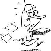 Cartoon Late Business Files — Stock Vector