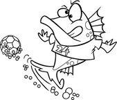 Cartoon Soccer Fish — Stock Vector