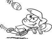 Cartoon meisje vangen voetbal — Stockvector