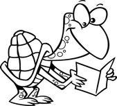 želva kreslená čtení — Stock vektor