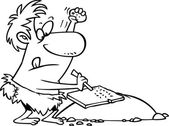 Cartoon höhlenmenschen steintafel — Stockvektor