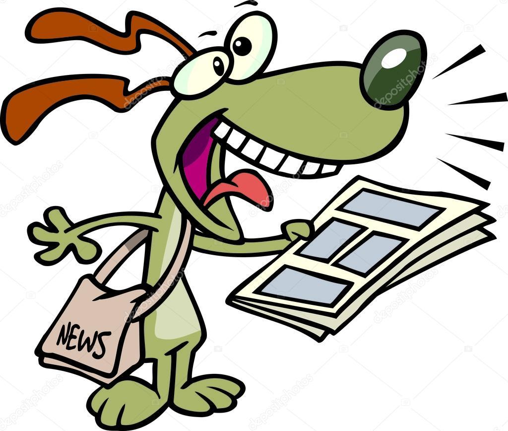 Segugio di notizie dei cartoni animati — vettoriali stock