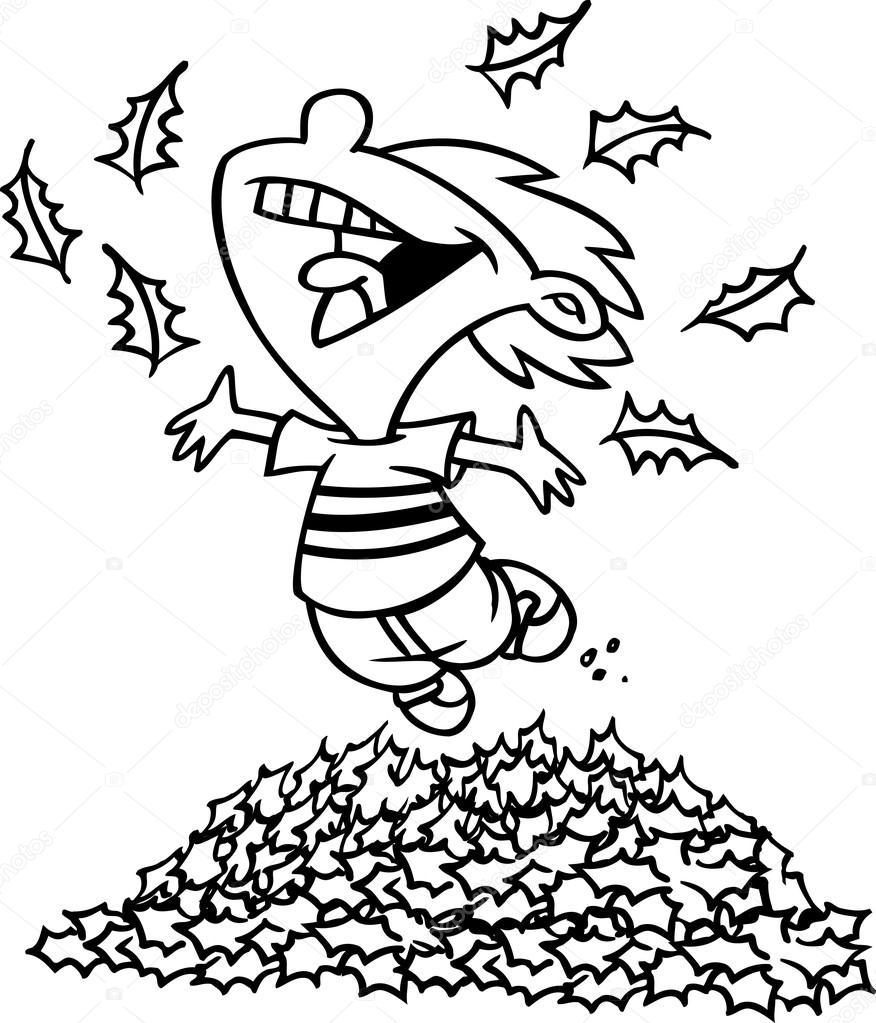 Gar on de dessin anim sautant dans les tas de feuilles - Dessin feuille morte ...