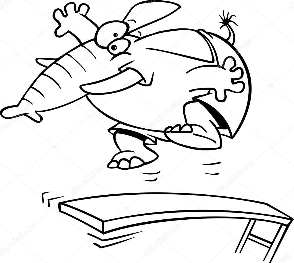 Cartone animato elefante trampolino — vettoriali stock