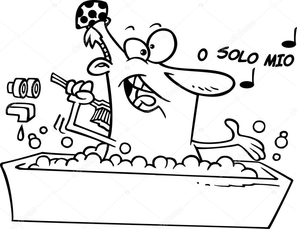 Imagenes De Baño Hombres:- Hombre de dibujos animados tomando un baño — Ilustración de
