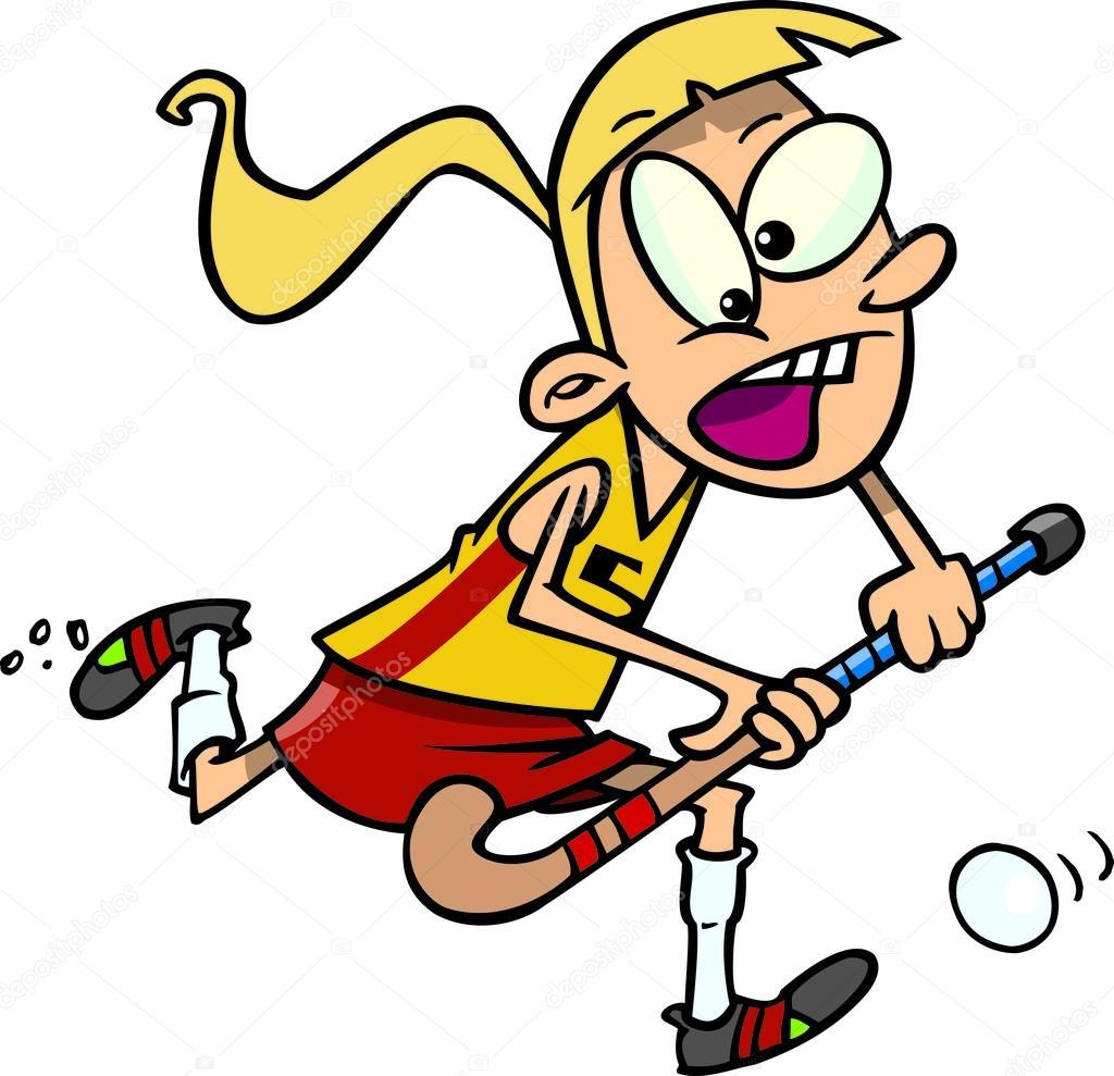 Field hockey player cartoon