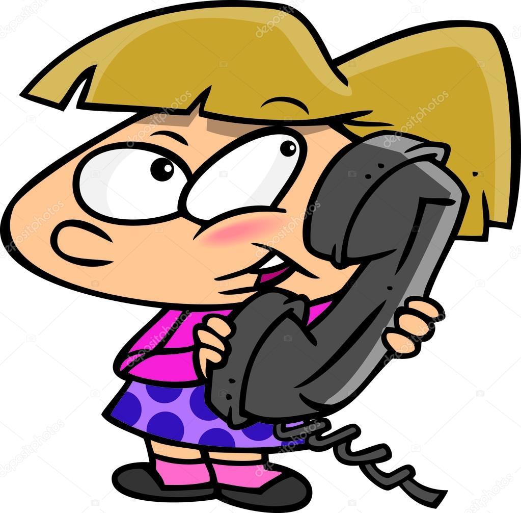 Cartoon Girl Talking on Phone — Stock Vector © ronleishman