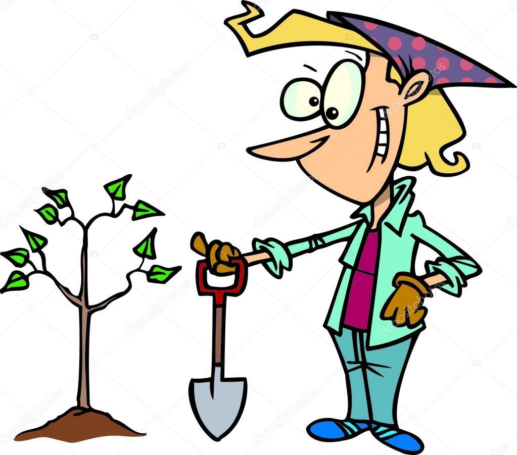 Planting Trees Cartoon Cartoon Woman Planting Tree