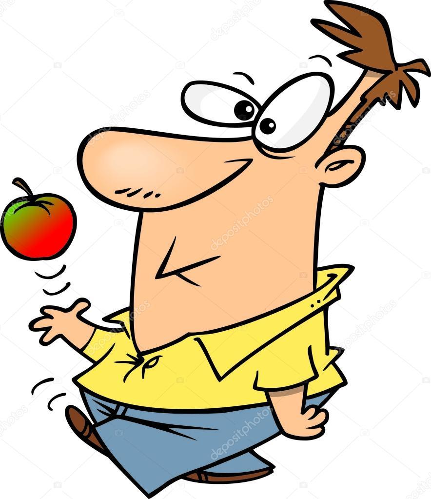 Uomo di cartone animato con apple — vettoriali stock