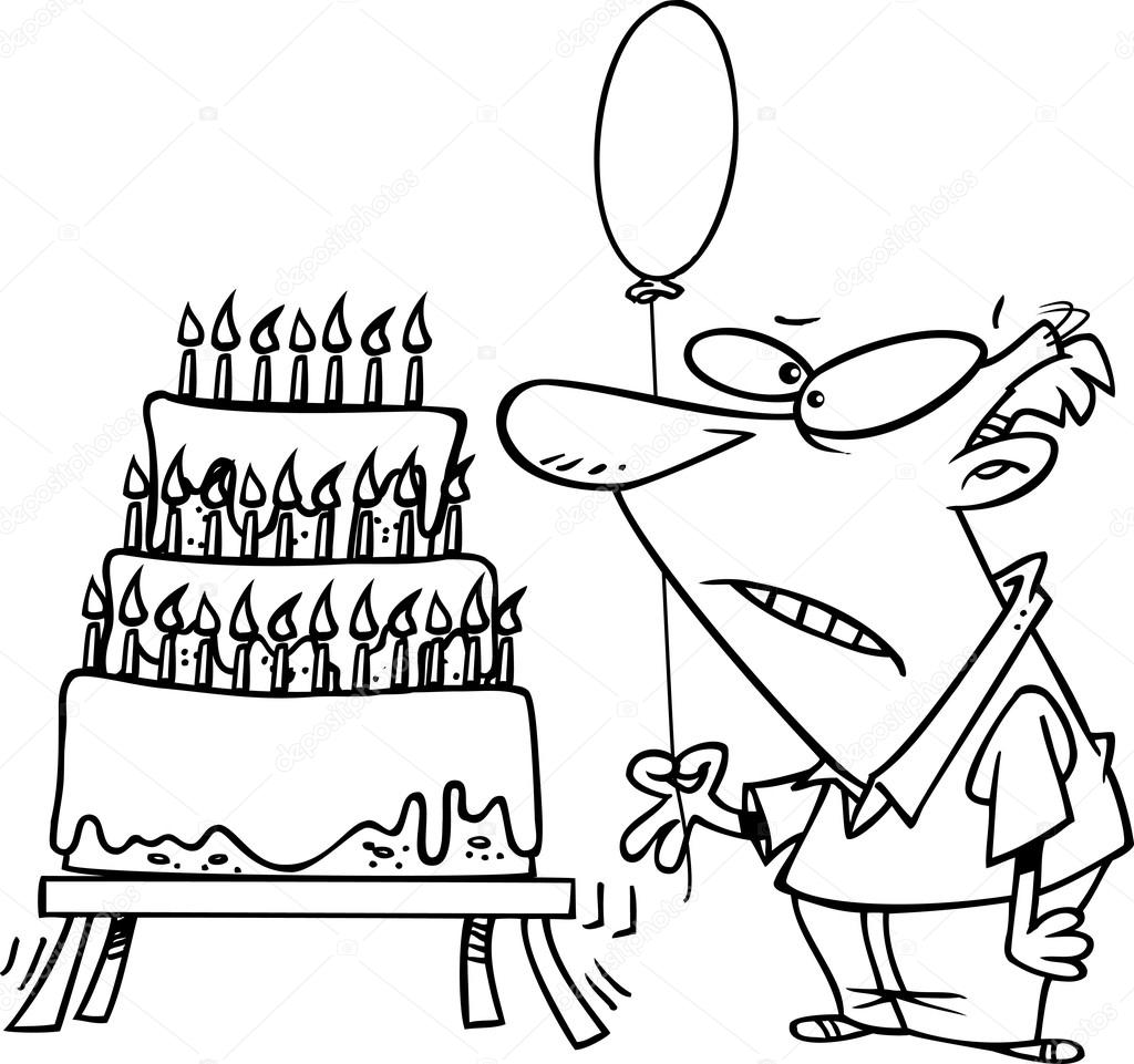 Old Man Cartoon Drawing Cartoon Old Man Birthday Cake