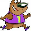 Stock Vector: Cartoon Female Bear Jogger