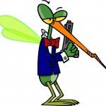 Cartoon Mosquito Secret Agent — Stock Vector