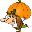 Cartoon Pilgrim Carrying Pumpkin — Stock Vector #14000741