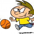 Stock Vector: Cartoon Boy Playing Basketball