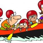 Cartoon Family Whitewater Rafting — Stock Vector