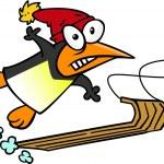 Cartoon Penguin Snow Sledding — Stock Vector