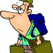 Cartoon Weary Traveler — Stockvectorbeeld