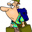 Vector de stock : Cartoon Weary Traveler