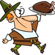 Royalty-Free Stock Vektorfiler: Cartoon Pilgrim Thanksgiving Turkey