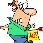 Cartoon Tax Hit — Stock Vector