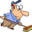 Stock Vector: Cartoon Janitor Sweeping