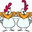 Stock Vector: Cartoon Chicken Buddies