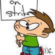 Cartoon Kid On Strike — Stock Vector