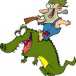 Stock Vector: Cartoon Gator Rider