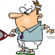 Cartoon Tennis Serve — Vector de stock #14003249