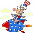 Cartoon Uncle Sam Rocket — Stock Vector #14003286