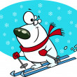 Cartoon Polar Bear Snow Skiing — Stock Vector