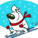 Cartoon Polar Bear Snow Skiing — Stock Vector #14003373