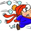 Cartoon Snowball Fight — Imagen vectorial