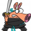 Vector de stock : Cartoon Samurai Pig