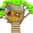 Stock Vector: Cartoon Pirate Boy in Tree House