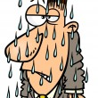 Cartoon Man Getting Soaked in the Rain — 图库矢量图片