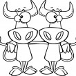 Stock Vector: Cartoon Cow Buddies