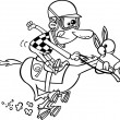 Stock Vector: Cartoon Jockey