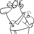 Cartoon Man Holding a Bomb Behind His Back — Vettoriali Stock